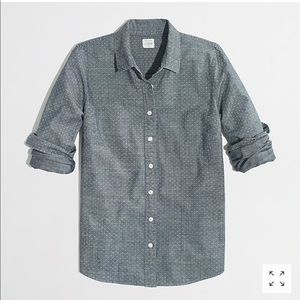 J Crew Factory Perfect Shirt in Printed Chambray